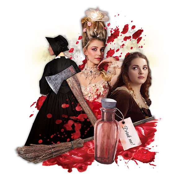 collage graphic of women, blood spatter, broom, and axe