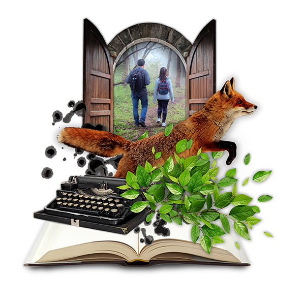 collage graphic of door, book ,fox, and typewriter