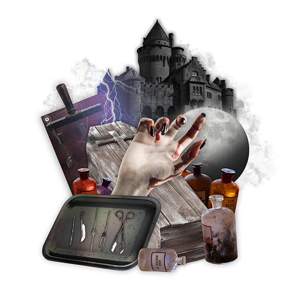collage graphic of bloody hand, coffin, dark castle, lightswitch, surgical tools