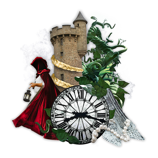 collage graphic of clock, cloak, tower, vines, glass slippers