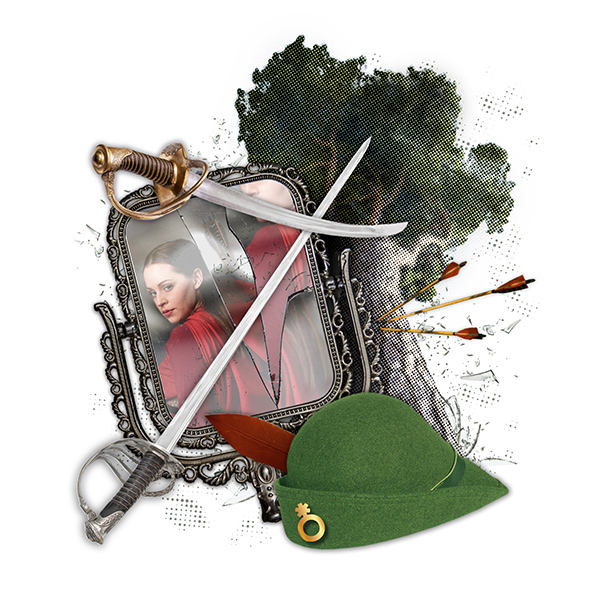 collage graphic of mirror, arrow, swords, and feathered cap