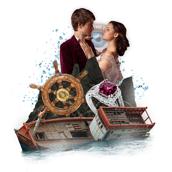 collage graphic of shipwreck, dancing couple, eye, and ring