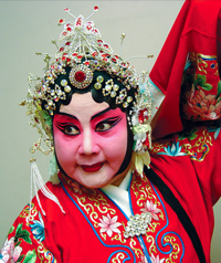 A person in heavy traditional Chinese performance makeup and costume.