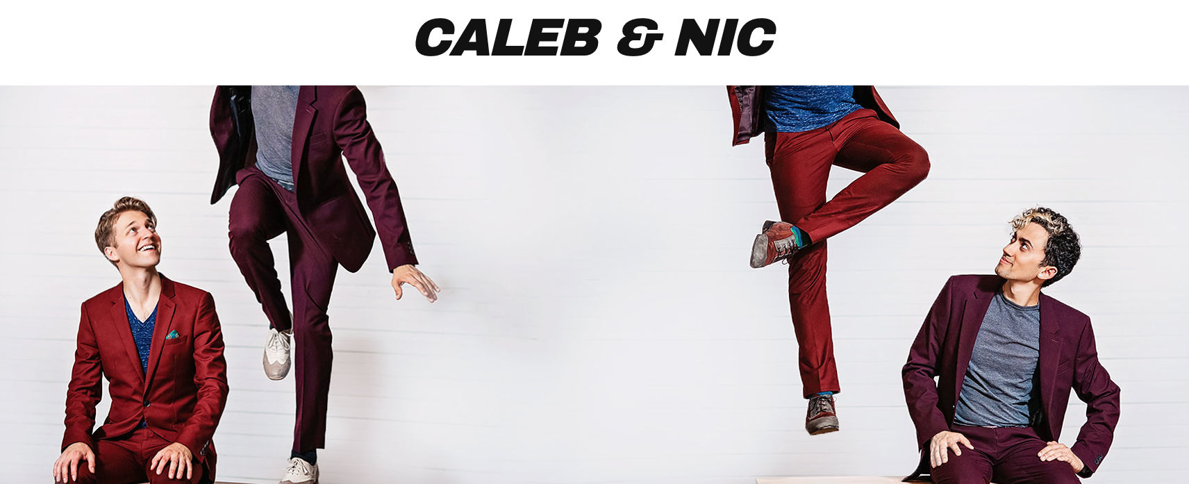 mirrored image of men in colorful suits jumping with Caleb & Nic written across the top