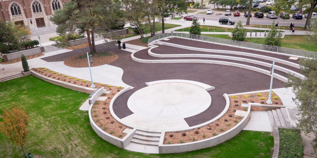 aerial shot of the summer circle courtyard