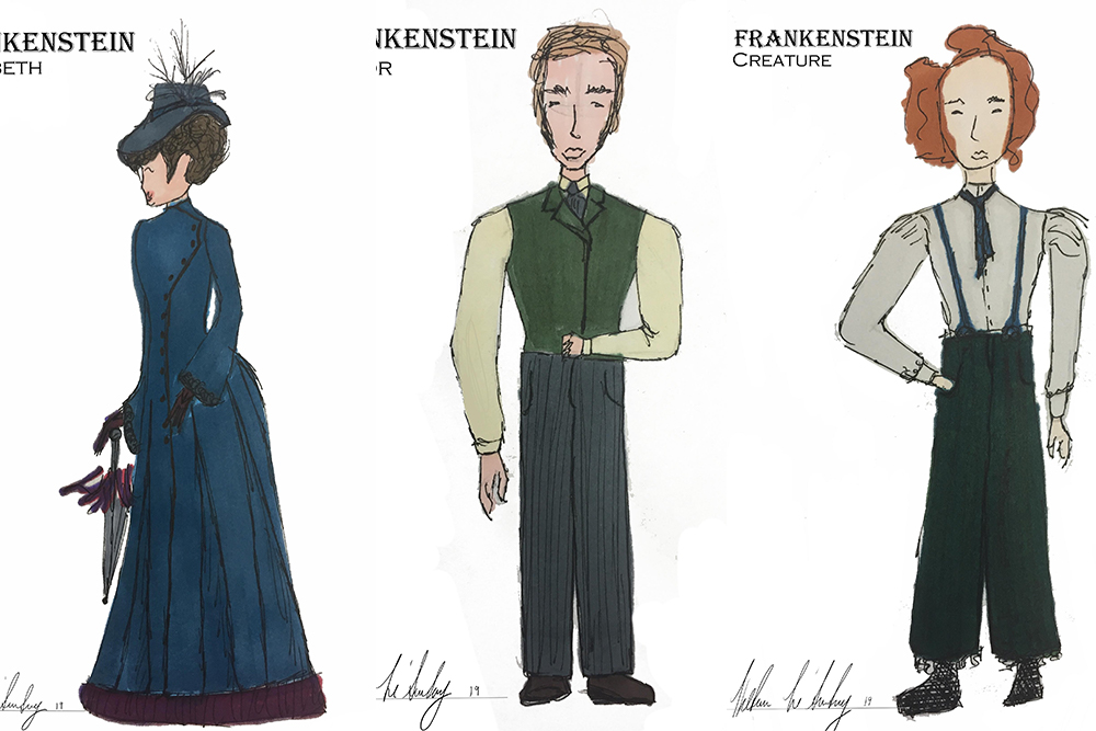 Costume Design Renderings of a Woman in a long blue dress, a man in pants and a green vest, and a person in pants, suspenders, and a tie