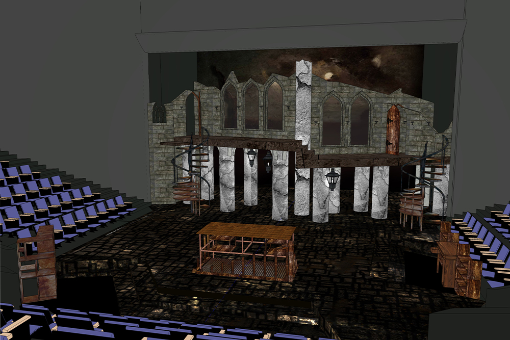 A computer-aided design rendering of a multi-level gothic set on a thrust stage