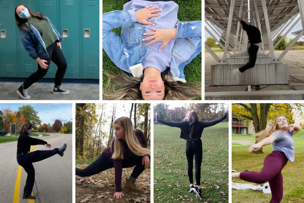 A grid of seven students in dance poses