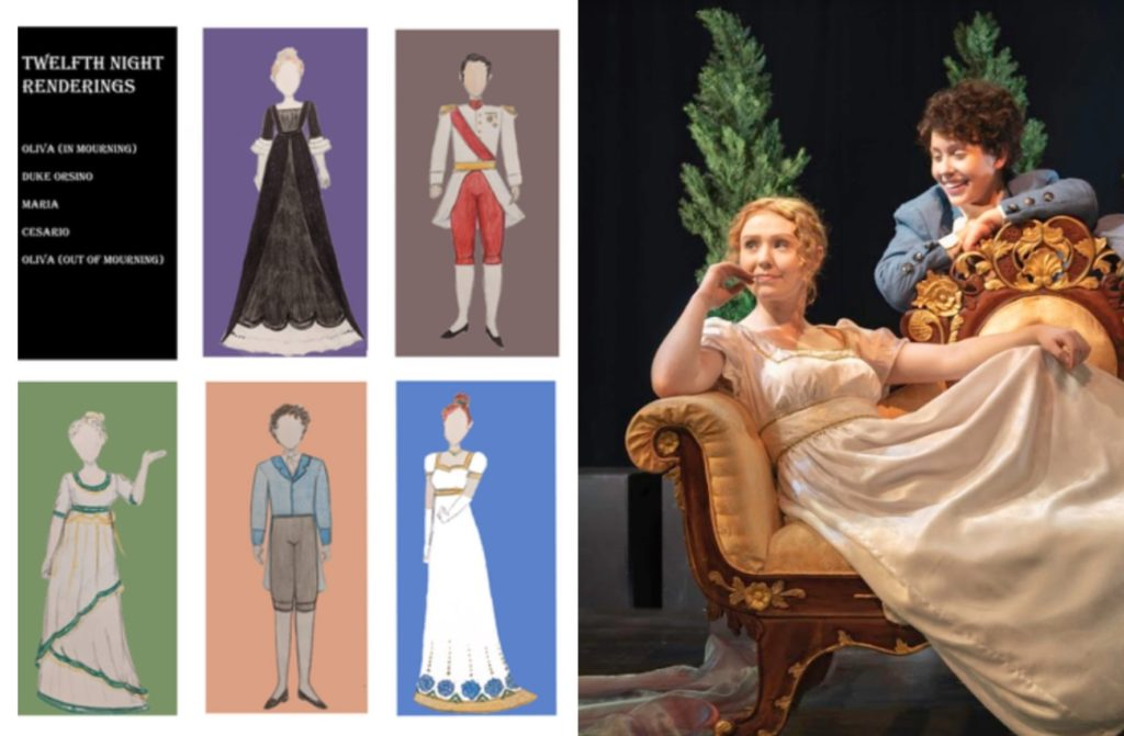image with 6 drawing of costume designs and two actors on stage wearing the designs