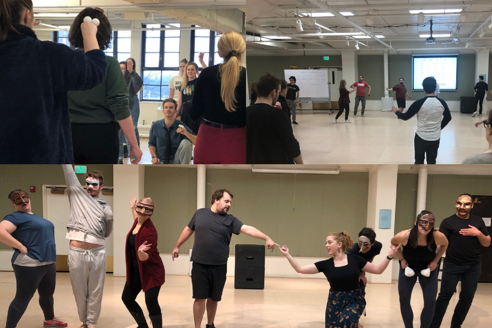 collage of photos of people dancing in a dance studio