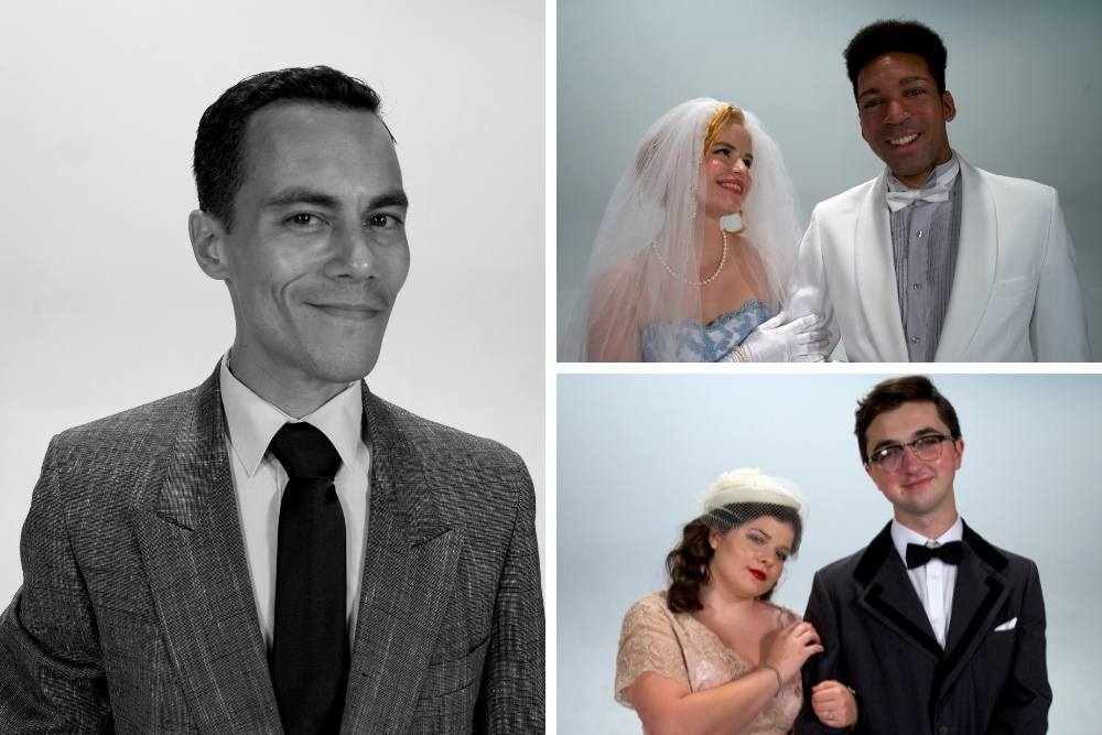 Image is broken into three parts. A vertical photo of a smiling man in a suit is on the left side, while two horizontal photos of two different couples are on top of one another on the right.