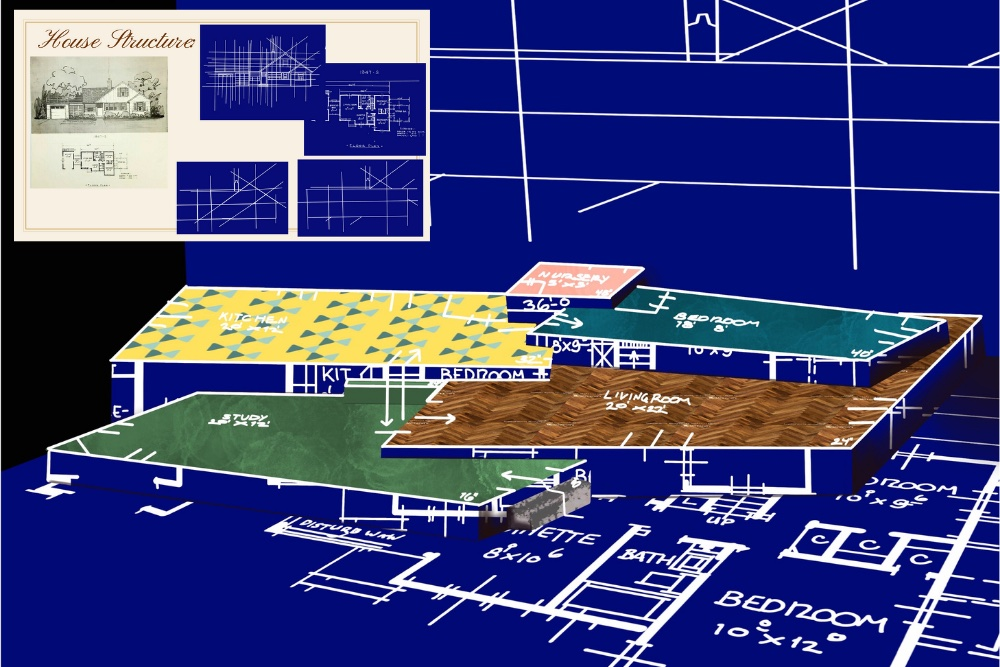 An image of a blueprint shows four tiers labeled 'bedroom', 'kitchen', 'living room', and 'study' along with dimension information.